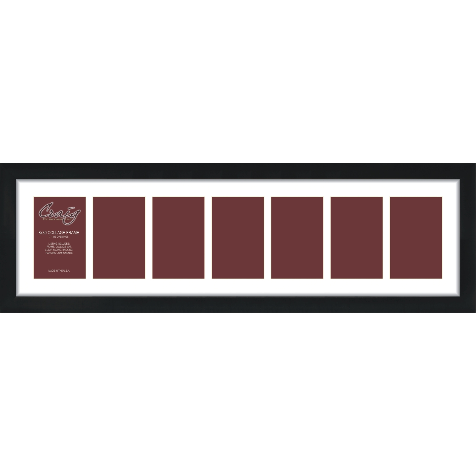 Craig Frames 1WB3BK 8x30, 7 Photo Collage Frame, 7 4x6 Openings, 1 ...