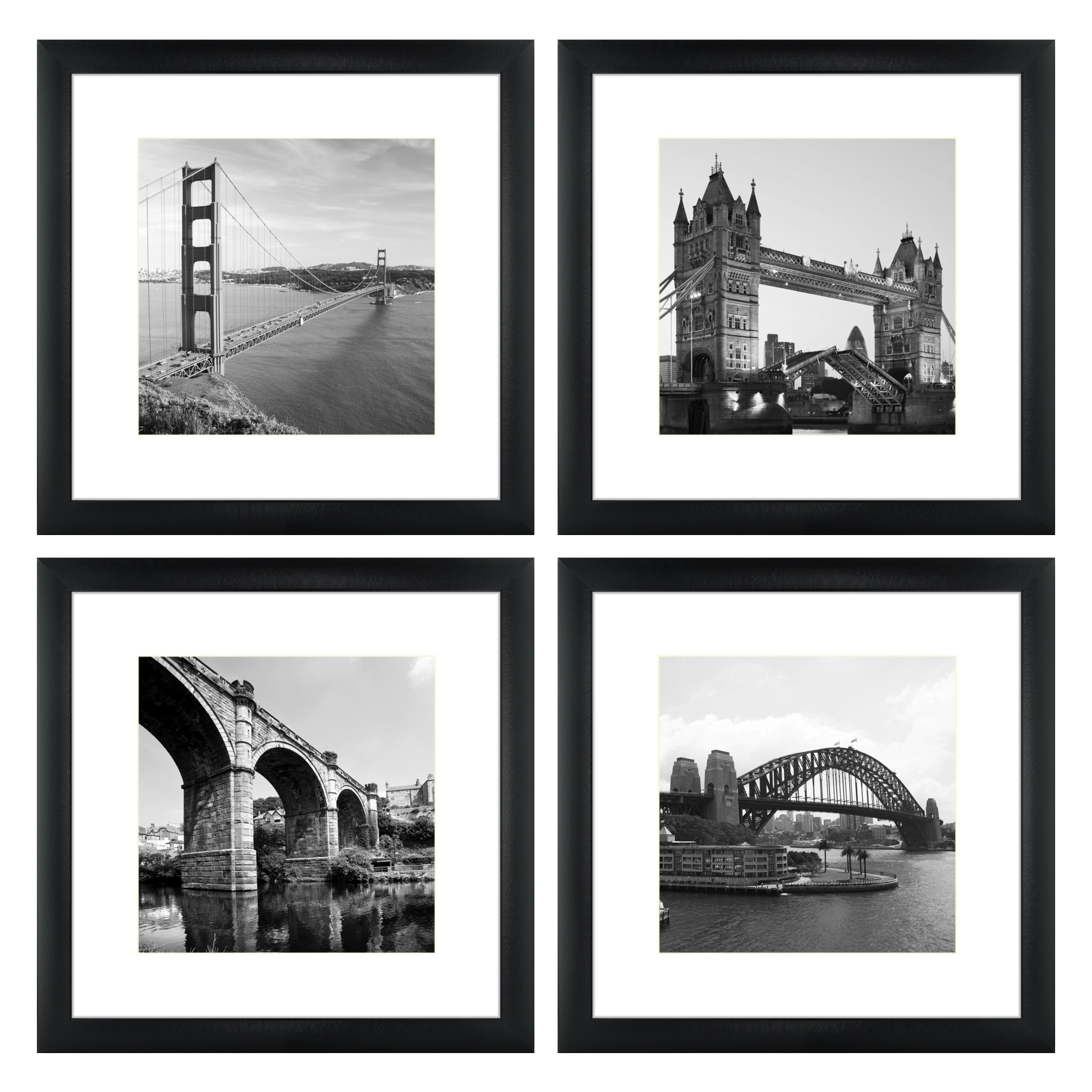 Craig Frames 14x14 Black Frame White Mat Opening For