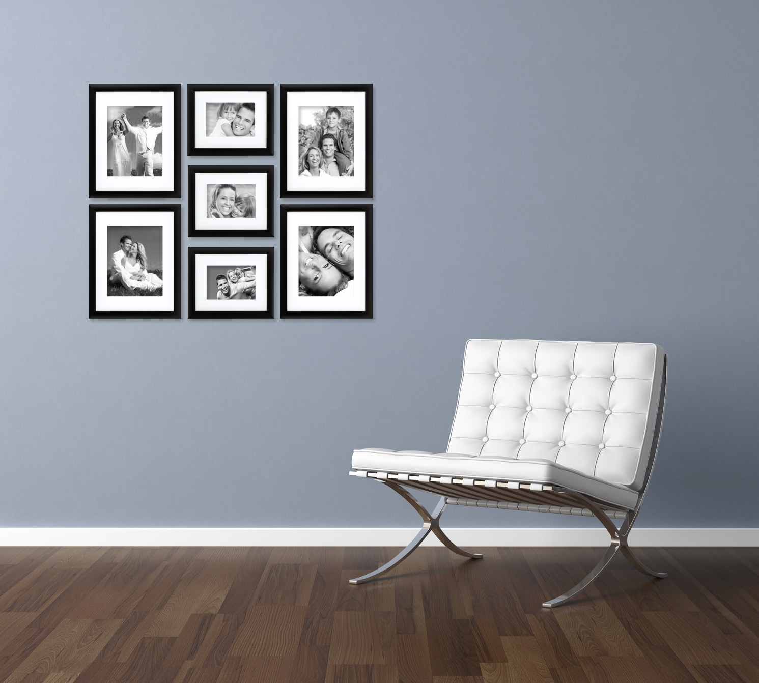 craig frames 7 piece black gallery wall frame set with glass white matting 765293534716 ebay. Black Bedroom Furniture Sets. Home Design Ideas