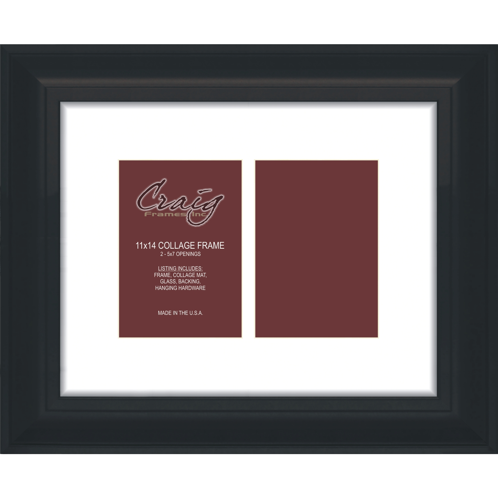 Craig Frames 11x14 2 Black Framed Collage Mat With Openings For 2
