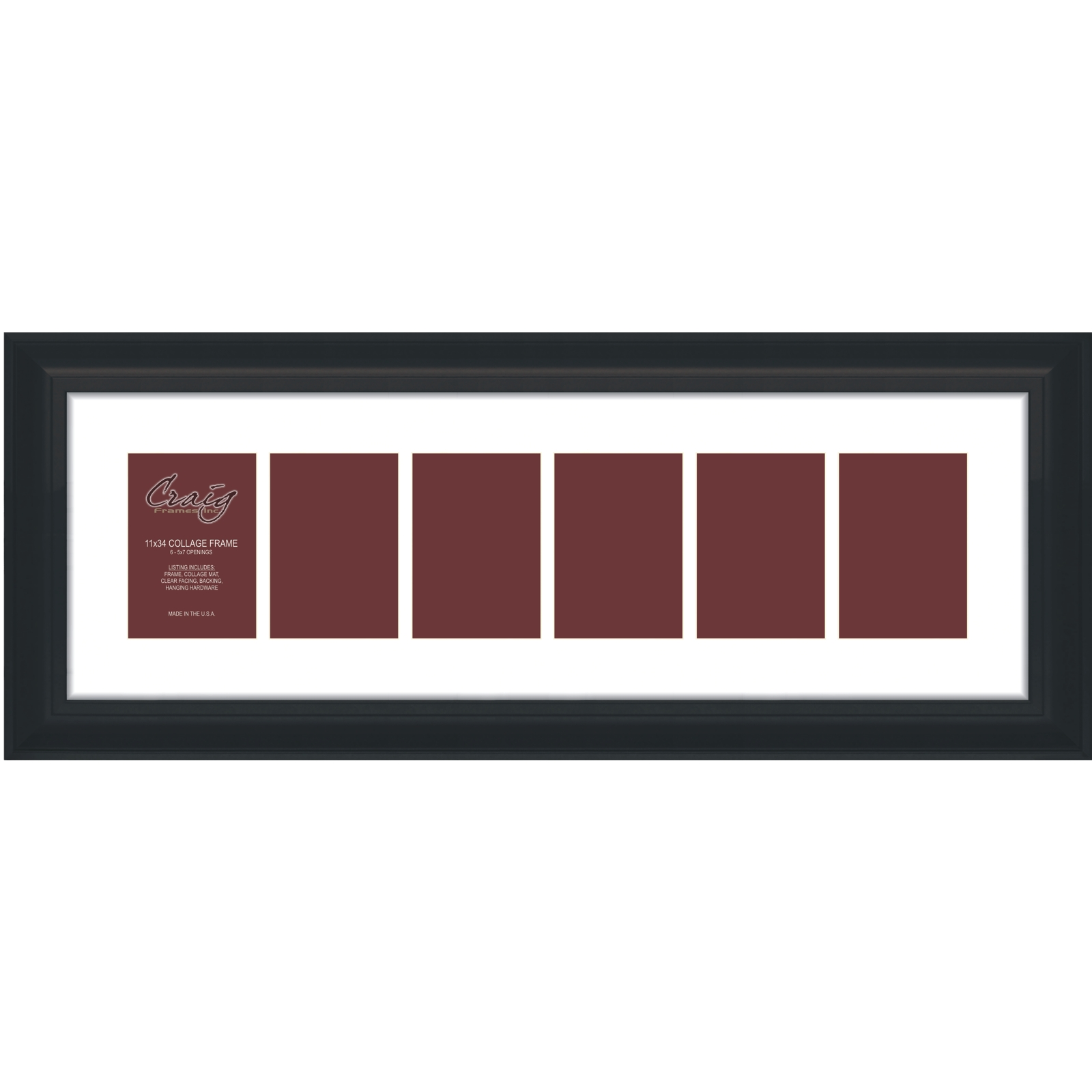 Craig Frames 11x34 2 Black Framed Collage Mat With 6 Openings For