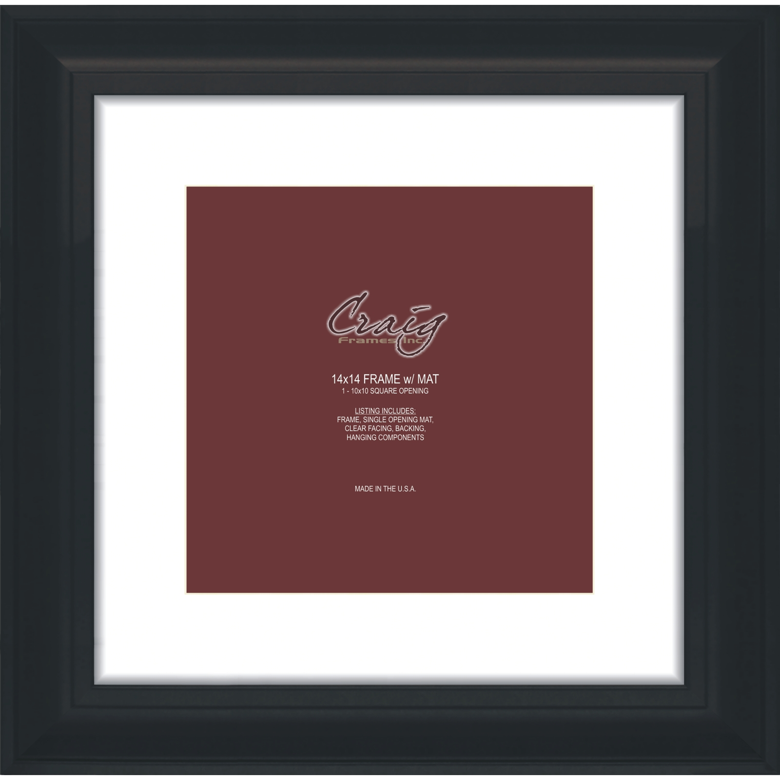 Craig Frames 14x14 2 Black Picture Frame White Mat Opening For