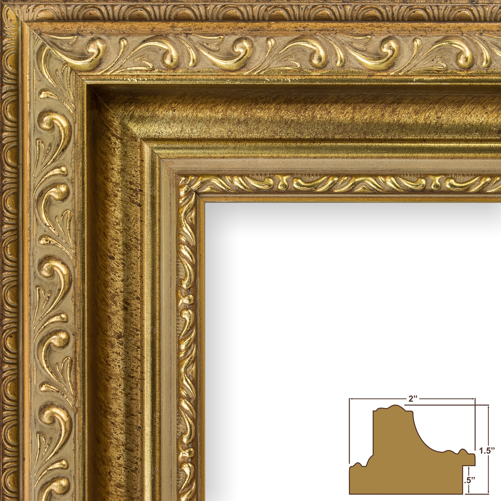 Craig Frames Antique Gold Ornate Picture Frames, 2\