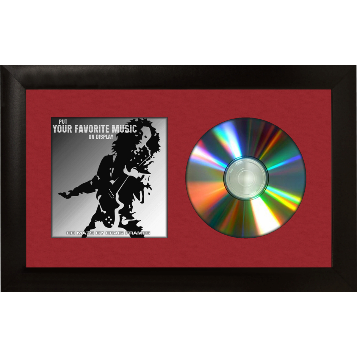 Craig Frames Complete 7x12 CD Display Black Frame with Glass, Red ...